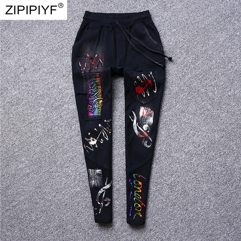 2019 New Arrival Fashion Women Jeans Bodycon Pants Female Washed Quality Sequined Denim Elastic Waist Skinny