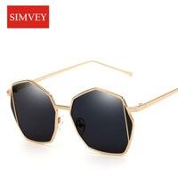 Simvey Fashion Peltate Mirrored Sunglasses Women Brand Designer Trendy Polygon Sunglasses Metal Frame Shades For Women