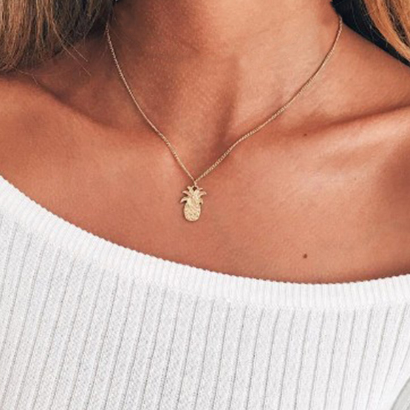 Pendant Necklaces Radient Trendy Classic Women Pendant Chain Necklaces Gold/silver Color Summer Simple Jewelry Pineapple Necklace