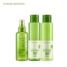 Nature Republic Natural Moisturizing Set Aloe Mist Spray Soothing Moisture Vera Toner+Emulsion Korean Skin Care