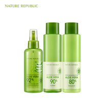 Nature Republic Natural Moisturizing Set Aloe Mist Spray Soothing Moisture Aloe Vera Toner+Emulsion Korean Skin Care Set