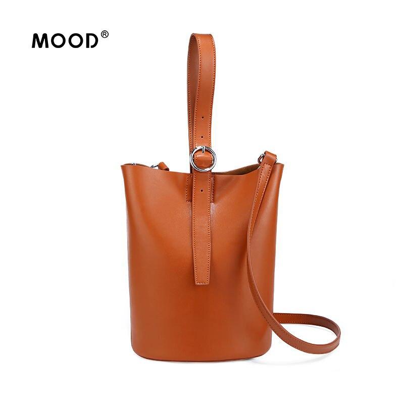 MOOD Split Leather bucket bag cowhide circle of new fund of portable oblique satchel large-capacity single shoulder bag