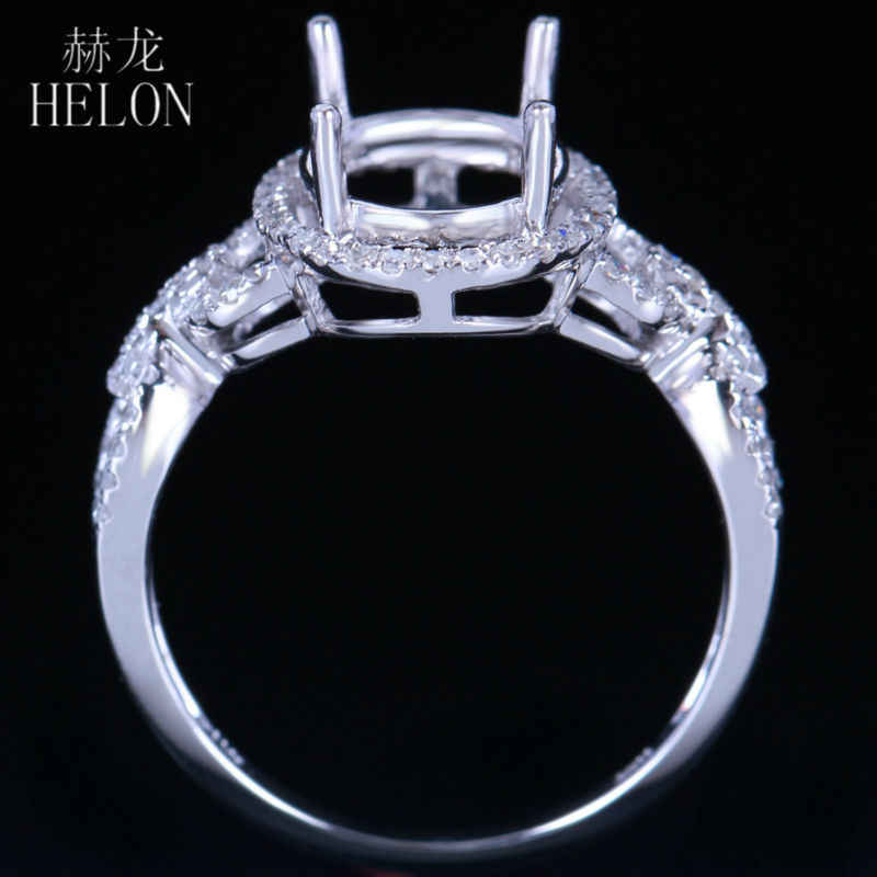 HELON Rắn 10 K (417) White Gold Oval Cut 10x8 mét Semi Núi Bất 0.3ct Diamonds Engagement Cưới Trendy Đồ Trang Sức Mỹ Vòng