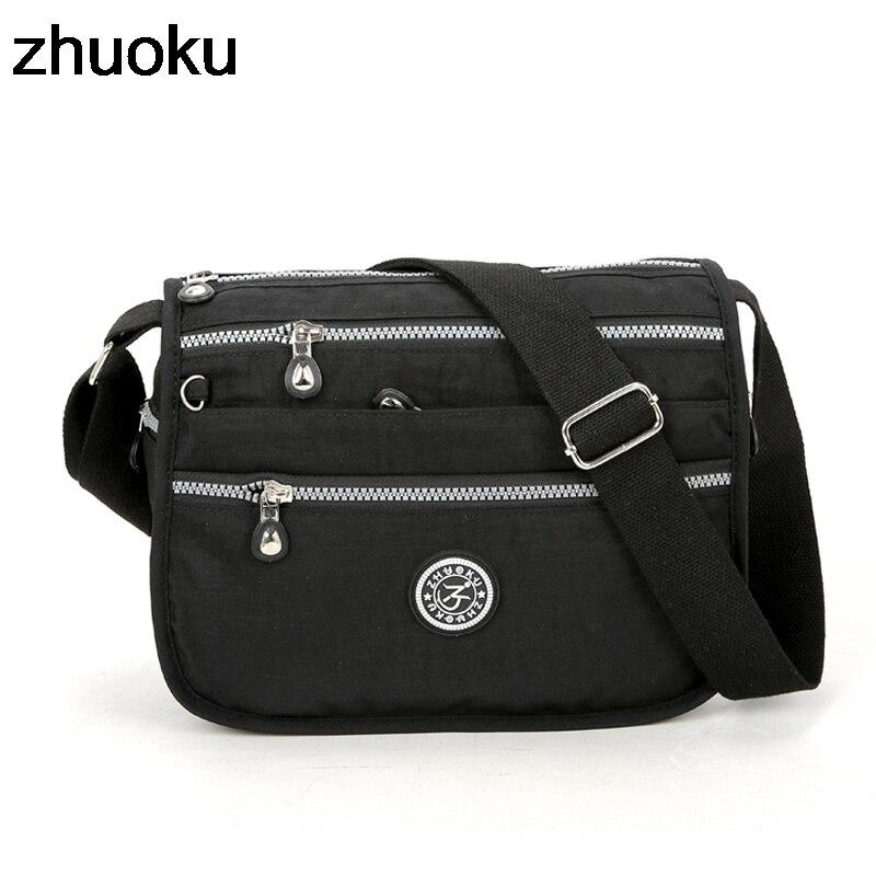 ZHUOKU Водонепроницаемый нейлон Для женщин Курьерские сумки маленький кошелек сумка женские сумки через плечо Сумки высокое качество Bolsa тота...