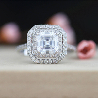 3 Carat Asscher Moissanite Ring Test Positive Brilliant Cut Lab Grown Diamond Solid 14K White Gold