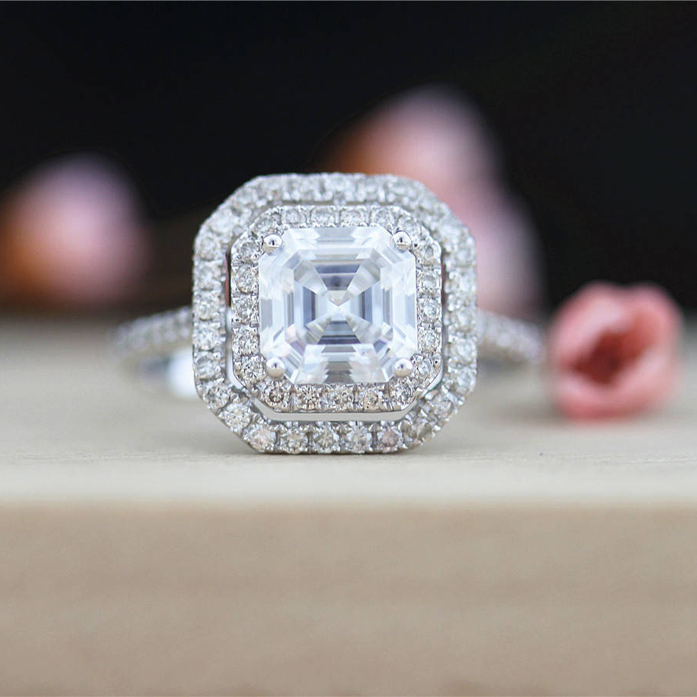 3 Carat Asscher Moissanite Ring Test Positive Brilliant Cut Lab Grown Diamond Solid 14K White Gold Engagement Rings Halo Ring transgems 1 6 ctw carat lab grown moissanite diamond eternity band solid 14k yellow and white gold engagement anniversary ring