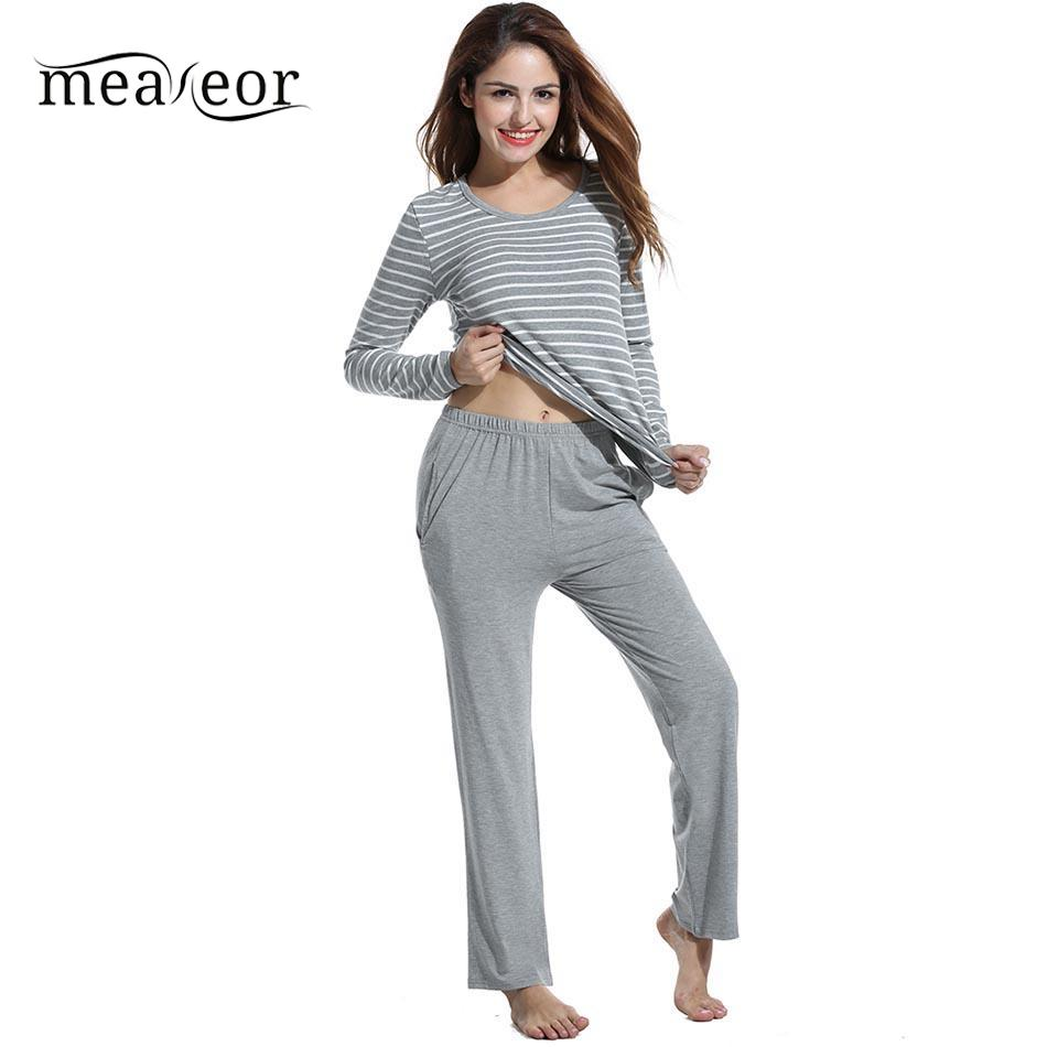 Meaneor loose women nightwear solid autumn sleepwear set winter pants women pajama with pocket stripe casual sleep tops