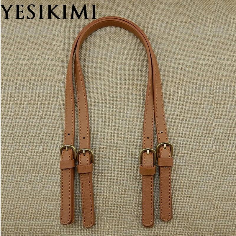 YESIKIMI 67-71CM Adjustable 1 Pair Bag Handles DIY Bag Belt Split Leather Bolsa Accessories Replacement Shoulder Bag Straps