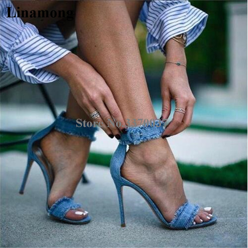 2018 New Fashion Women Open Toe Ankle Strap Denim Sandals Stiletto Heel Jean Sandals Casual High Heels Dress Shoes fashion women s sandals with metal and stiletto heel design
