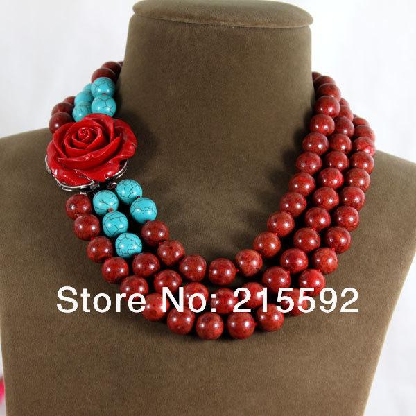 718d45d53c62 Nueva llegada 3 filas coral rojo collar de la manera roja Rose flor  colgante collar de