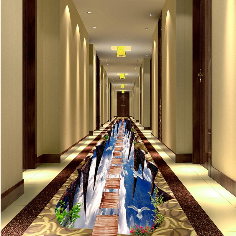 Free shipping custom Hallway wooden bridge floor painting self-adhesive home decoration floor living room 3d wallpaper mural free shipping aircraft cliff 3d painting waterproof home decoration children room bedroom floor mural self adhesive wallpaper