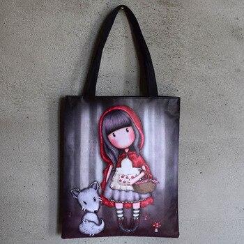 10pcs Fashion Casual Character Women's Shoulder Bag Girl's Lovely Cartoon Printing Handbag Quality Canvas Shopping Bag Wholesale