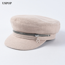USPOP 2019 new spring caps women  newsboy casual solid color patchwork chain decoration military