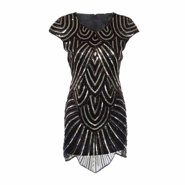 Elegant 1920s Black Gold Flapper Great Gatsby Dress Vintage Glitter
