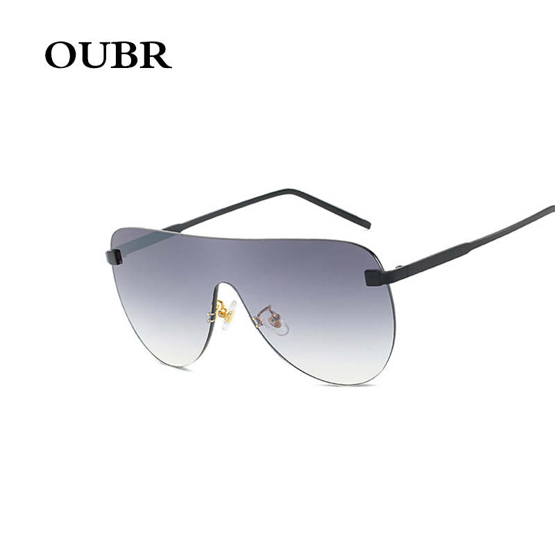 OUBR Trend brand designer ladies oval sunglasses ladies simple fashion one piece sunglasses men white mercury lens UV400 glasses in Women 39 s Sunglasses from Apparel Accessories