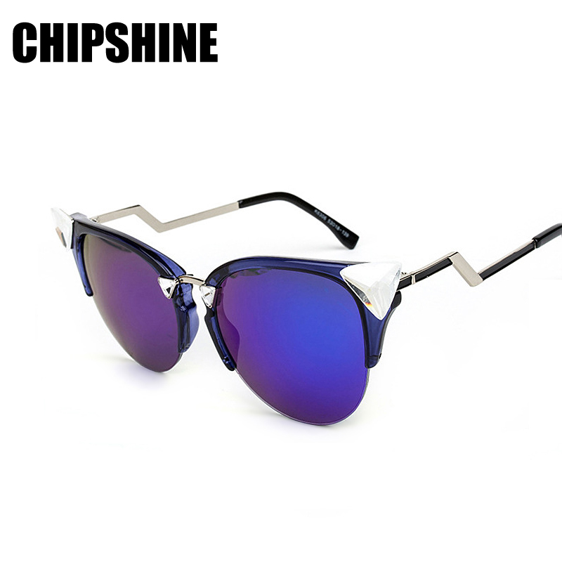Cateye Polarized Sunglasses Women Brand Designer Sun Glasses with Box Triangle Crystal Oculos font b De