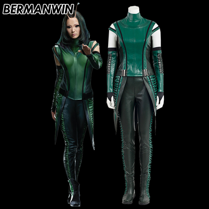 BERMANWIN High Quality Guardians of the Galaxy 2 Mantis costume adult women Mantis green outfit Halloween Cosplay Costume