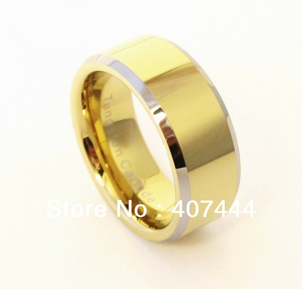 free shipping cheap price usa hot selling 8mm two tone new gold color tungsten carbide wedding band ring womenmens best gift