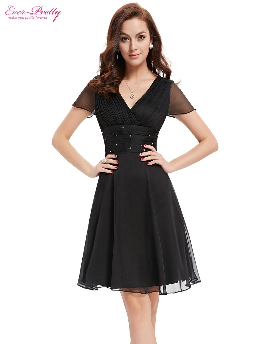 Short Sleeve V Neck Ruched Bust Chiffon Party Dress 2