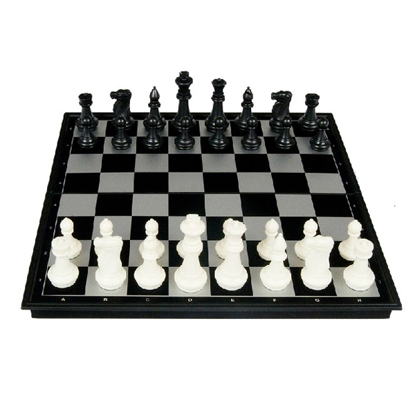 Portable 2-in-1 Chess & Checkers Set with Folding Magnetic Board - Size Medium (Black & White)