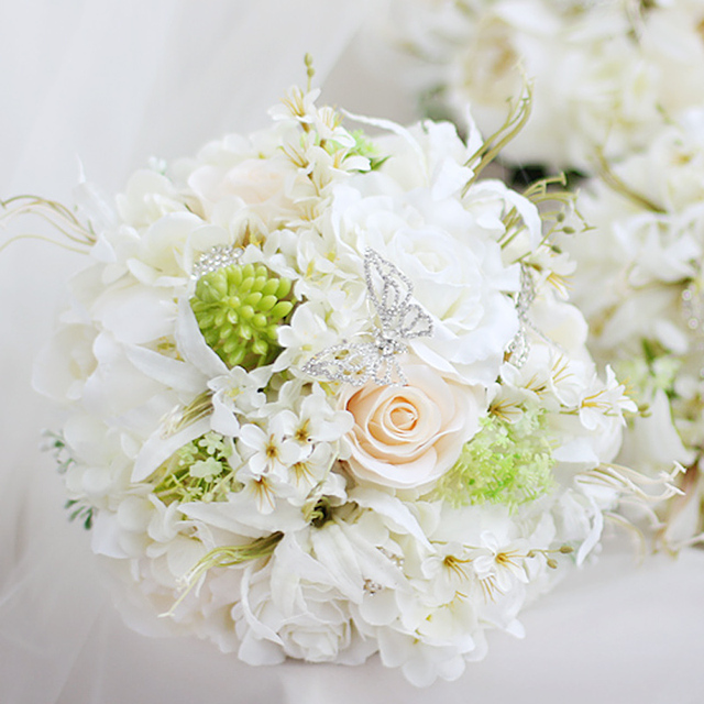 51 96 Iffo Blanc Rose Hortensia Papillon Perle Fleur Accessoires Mariee Mariage Main Tenant Fleur Blanc Vert Vert Nouvelle Mode Dans Bouquets De