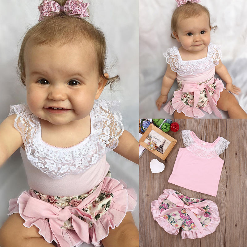 Infant Baby Girl Lace Tops T-shirt + Floral Shorts Summer Bow Ruffles 2pcs Outfits Set New 0-24M 0 24m floral baby girl clothes set 2017 summer sleeveless ruffles crop tops baby bloomers shorts 2pcs outfits children sunsuit