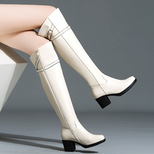 Black Beige Cowhide Round Toe Thick Heels Over the Knee Boots With Belt Buckle 2016 Winter New Fashion Women Stovepipe Jackboot