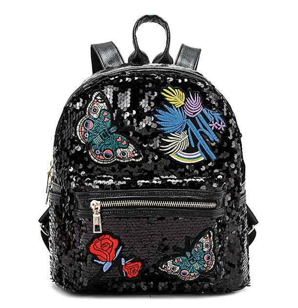 Рюкзак с блестками и вышивкой для женщин, модный рюкзак для путешествий, новый школьный рюкзак с рисунком Розы и бабочки, Mochilas