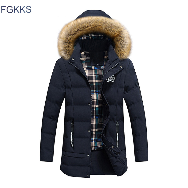 FGKKS New Brand Clothing Winter Men Jacket Fashion Mens Winter Parka With Hood Casual Warm Men's Coats Thick Long Parkas Male free shipping winter parkas men jacket new 2017 thick warm loose brand original male plus size m 5xl coats 80hfx