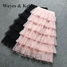 Weyes & Kelf Sweet Elegant Princess Layer Skirt Women 2018 Spring Long Ruffles Skirt Tulle Tutu Skirt Woman Pink Skirts Women(China)