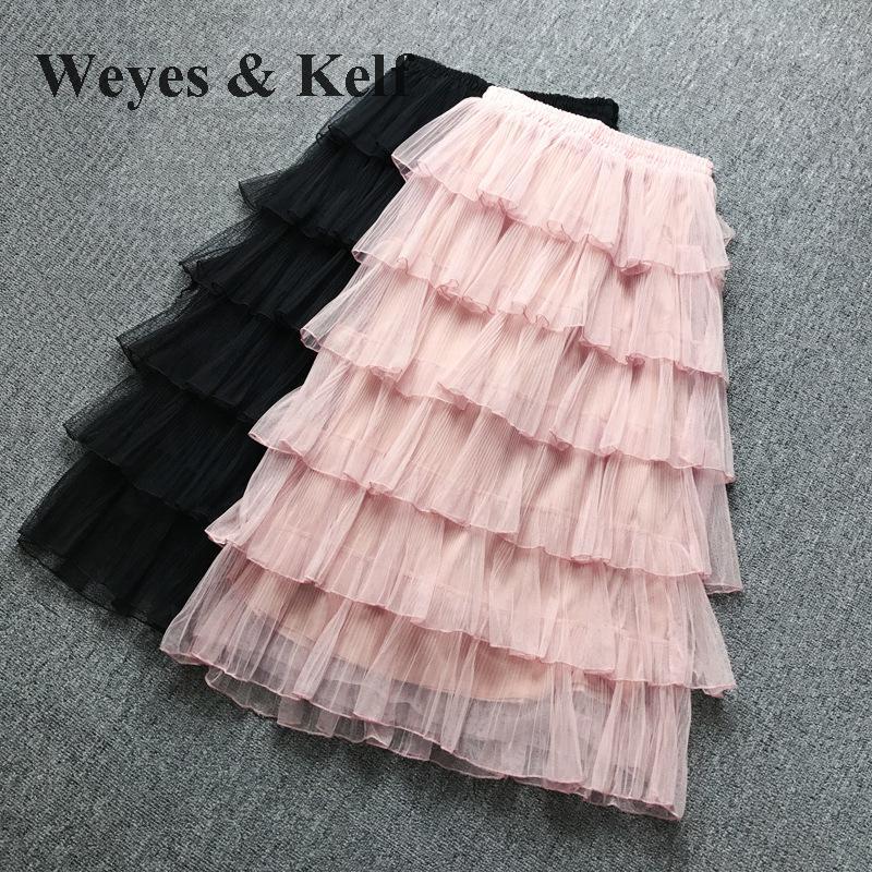 Weyes & Kelf Милая элегантная многослойная юбка принцессы для женщин 2018 Весенняя длинная юбка с оборками Тюлевая юбка пачка женские розовые юбки для женщин