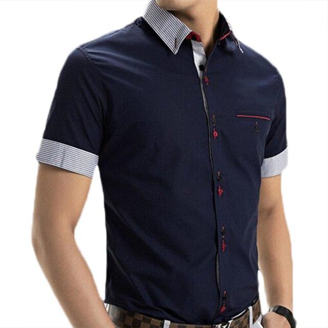 513a581f685 2017 Printemps Marque Robe À Manches Courtes hommes Chemises Hommes De Mode  Patchwork Casual camisa slim