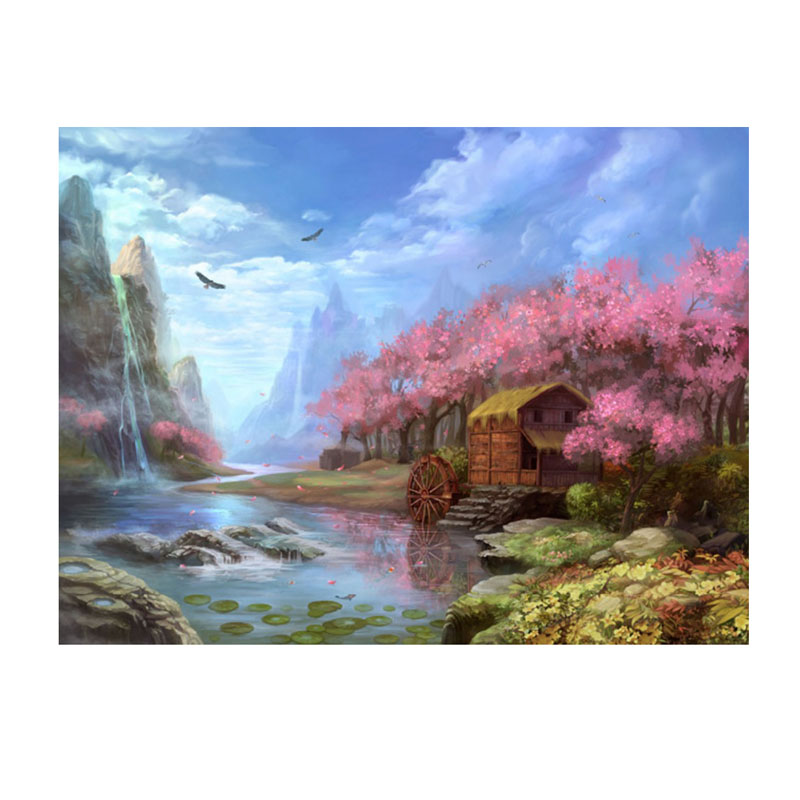 5D DIY Mountain River Diamond Embroidery Painting Cross Stitch Picture for home dec