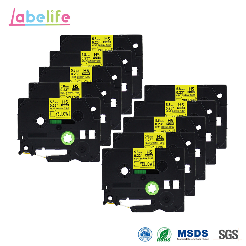 Labelife 10 Pack HSE-611 Black on Yellow 5.8mm Heat Shrink Tubing for Brother Printable Label Tape for Telecom & Industry