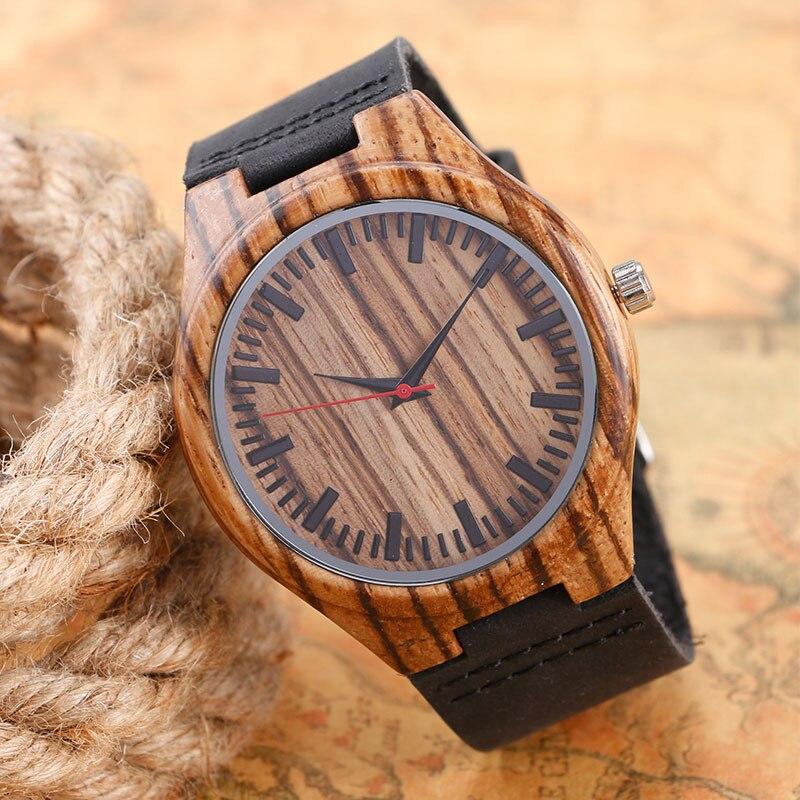 YISUYA Casual Men Analog Nature Wood Watch Quartz Simple Black Genuine Leather Strap Gift
