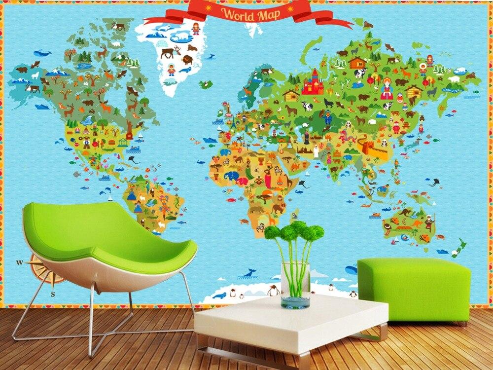 Custom papel de parede infantil,Landmarks world map,3D cartoon mural for living room children's room park wallpaper обои 3d papel de parede infantil mural tapete