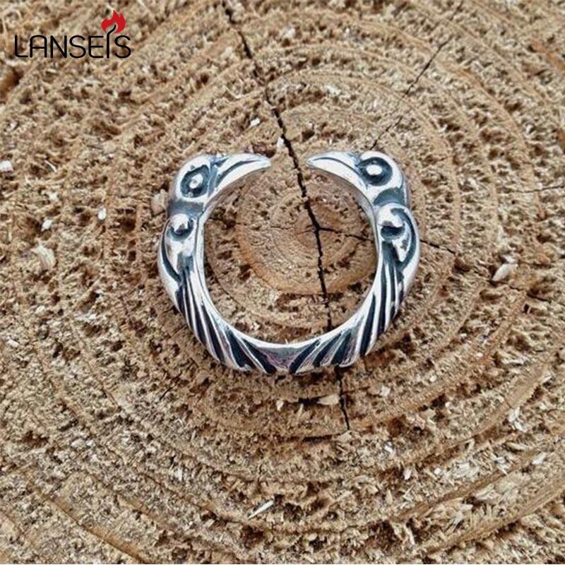 lanseis 1pcs viking raven ring cute bird rings