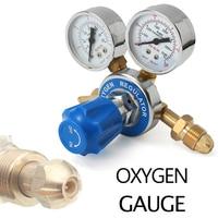 Oxygen Pressure Reducer Brass Dual Gauge Pressure Regulator Welding Cutting Gas Flow Meter Reducing Guage Tools