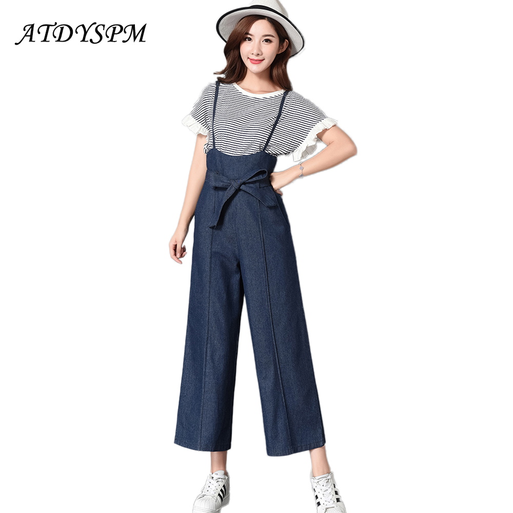 New Autumn Strap Casual Jeans For Women Fashion Blue Washed Bow Denim Pants Ladies Loose Wide Leg Pants Cowboy Jeans new boyfriend jeans for women denim pants ladies loose fit high waist casual jeans fall fashion style drak blue wide leg pants