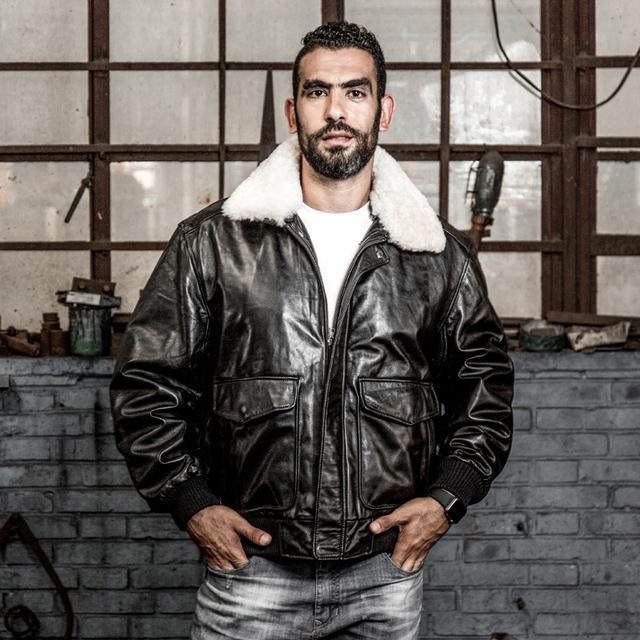 Read Description! Asian size air force flight suit G1 pilot fur collar thick warm leather jacket genuine sheep leather jacket