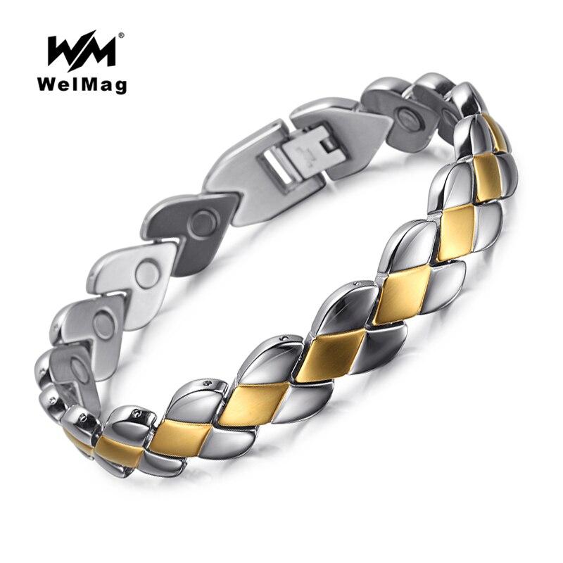 WelMag vysoce kvalitní módní pánské magnetické náramky a náramky z nerezové oceli, bio energie, terapie, šperky, krevní tlak, příslušenství