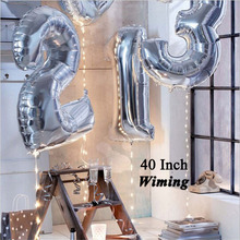 helium number balloon 40 inch event festive party supplies giant gold silver birthday numbers balloons foil