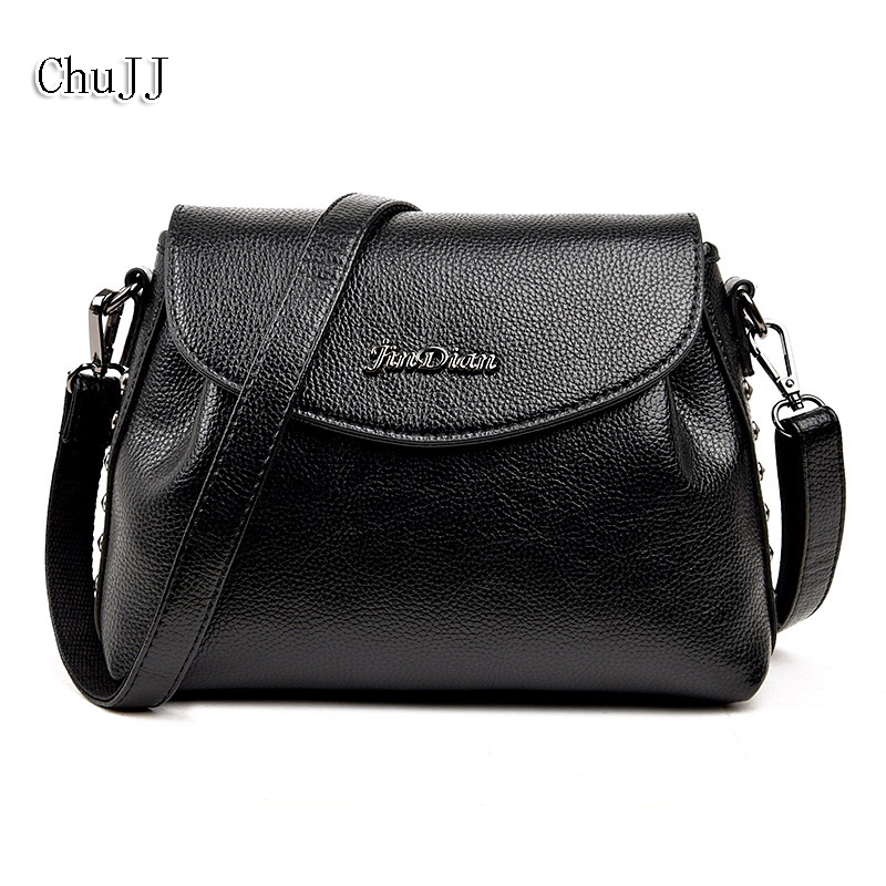 High Quality Women's Genuine Leather Handbags Rivet Shoulder CrossBody Bag Fashion Messenger Bags Women Bucket Bags Ladies 2018 new fashion top handle bags women cowhide genuine leather handbags casual bucket bags women bags rivet shoulder bags 836