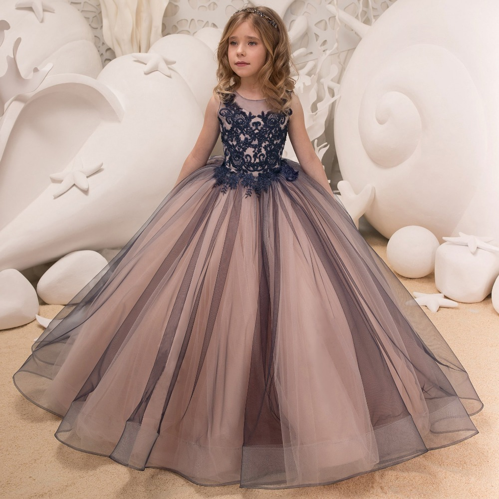 Luxury Navy Ball Gown Pageant Dresses for Girls Floor Length Flower Puffy Tulle Prom Wedding Birthday Party