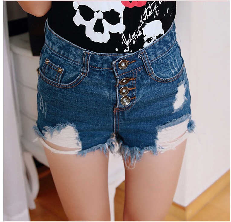 2016 new European style fluorescent candy colored Rainbow hole fringed high waist denim shorts trousers jeans women A2295