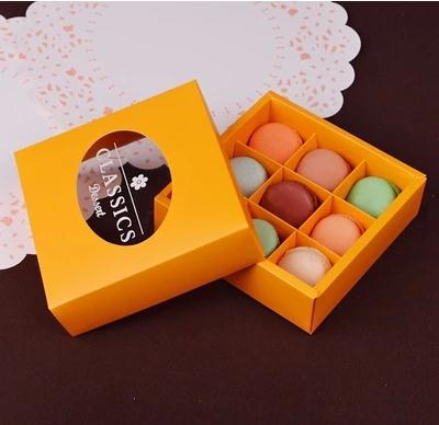 Free Shipping 12 Pcs Lot Yellow Macaron Packaging Boxes 9