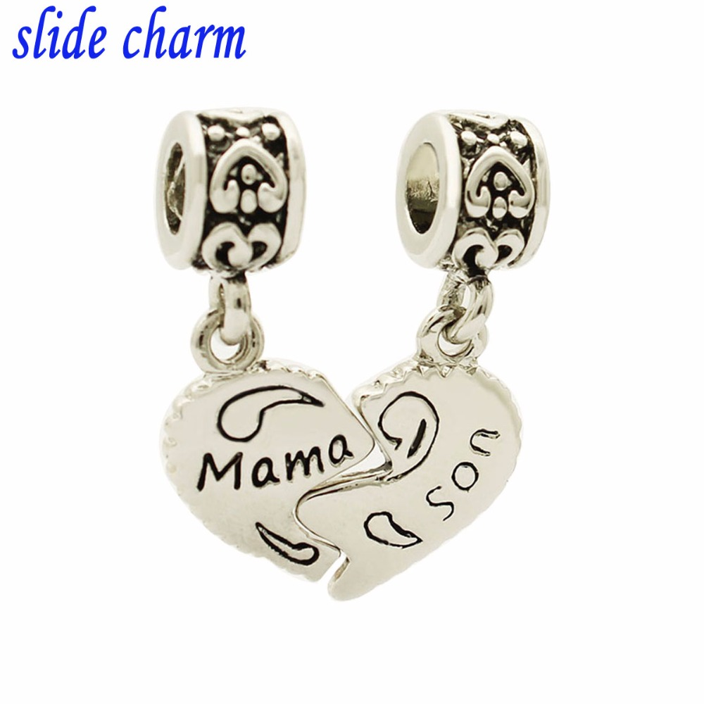 slide charm Free shipping Mothers Day Gift Mother and son pendant amulet charm beads fit Pandora bracelet