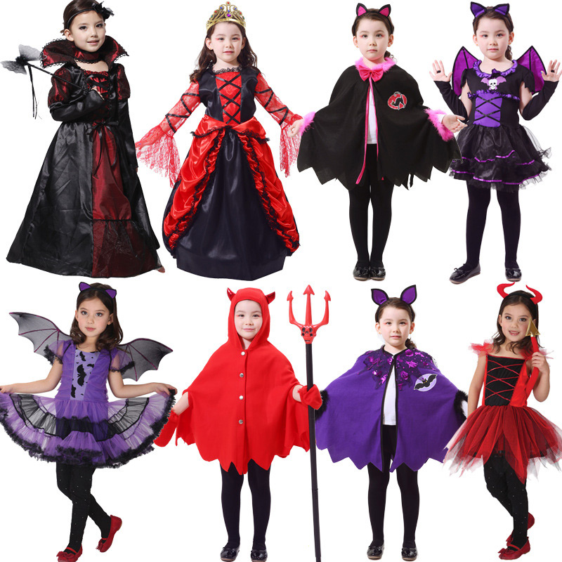 Halloween Costumes for Girls Princess Dress Kids Vampire Clothes Cosplay Bat Set for Party Outfit Boys Costume Children Clothing 4pcs gothic halloween artificial devil vampire teeth cosplay prop for fancy ball party show