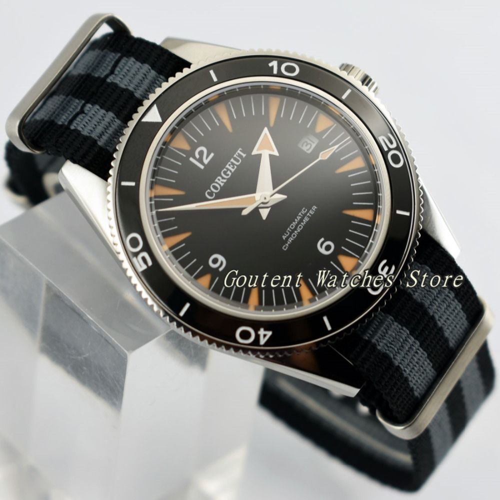 41mm Corgeut Luminous Black Bezel Leather Automatic Movement Men Watch