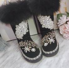 New product plus cotton long tube heavy industry fashion rhinestone three-dimensional decoration increase Martin boots(China)